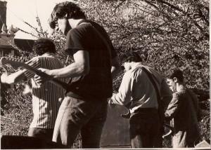 Hunkering down at U. Penn's Spring Fling, circa 1986.
