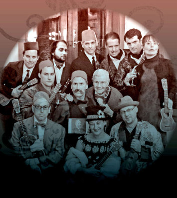 Philadelphia Ukulele Orchestra, featuring cdm (smiling debonairly at left side of fez-wearing member at top center) and chickenfrank (middle row, center, sporting W.B. Mason Look).