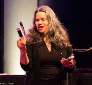 Natalie Merchant interrupts her set at World Cafe Live to take her first selfie.